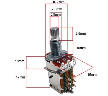 Potenciômetro Push Pull para guitarra/baixo B500k  - Luthieria Brasil