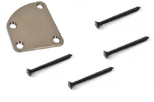 Neck Plate curvo cosmo black para guitarra/baixo + 4 parafusos (42mm x 4,2mm)  - Luthieria Brasil