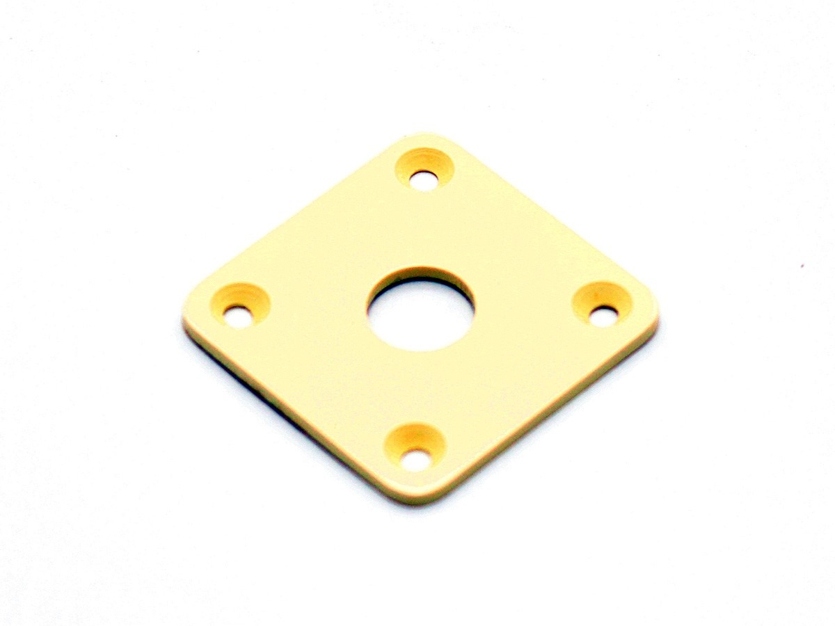 """Jack Plate """"quadrado"""" de plástico creme p/ guitarra (reto) - Spirit (PLJC)  - Luthieria Brasil"""