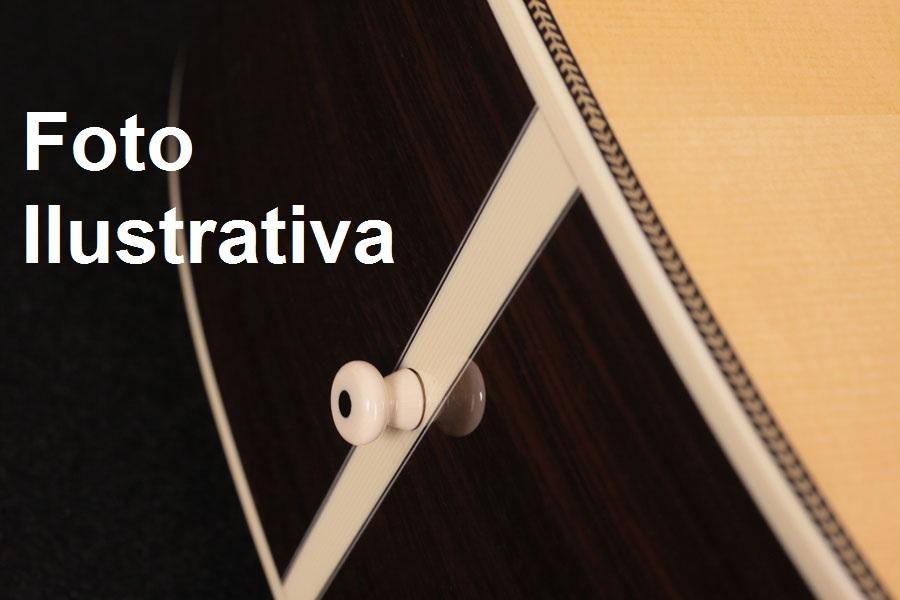 Roldana (End pin) branco c/ olho preto de plástico para instrumento acústico (1 unidade) - Sung Il (EPP 11)  - Luthieria Brasil