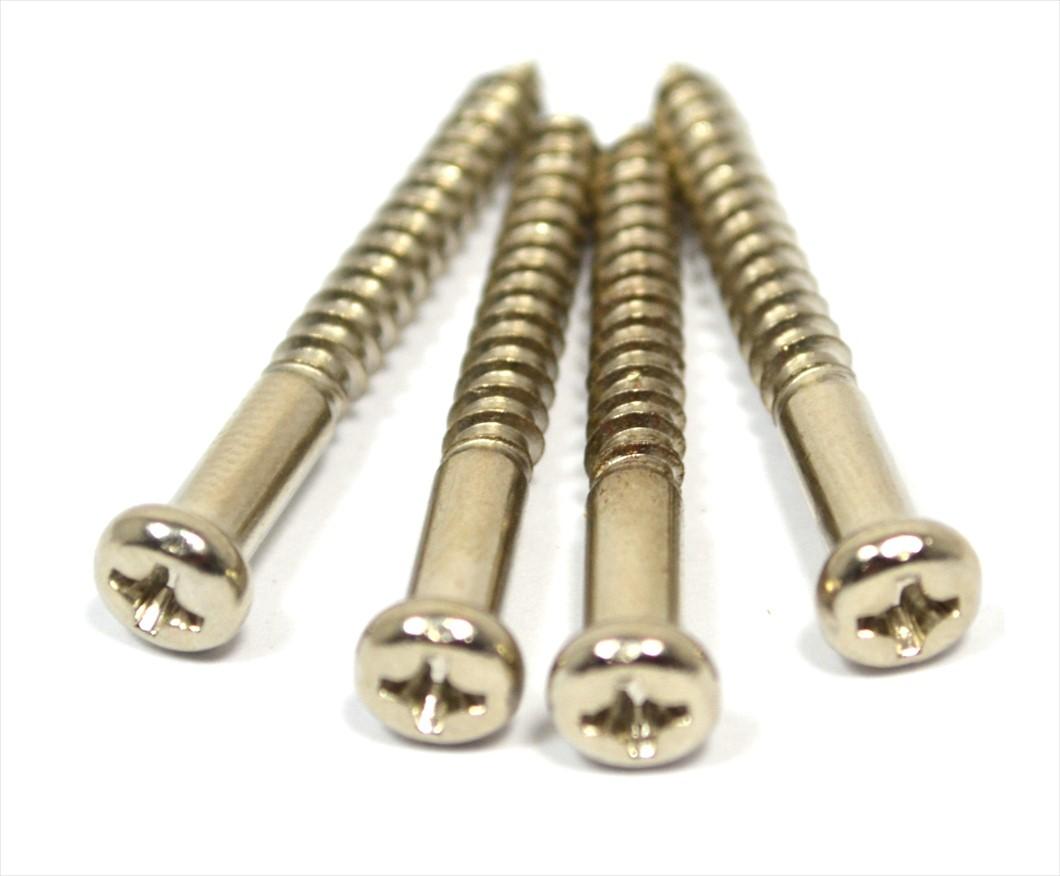 Kit c/ 4 parafusos (35mm x 4mm) cromados para braço (neck plate)  - Luthieria Brasil