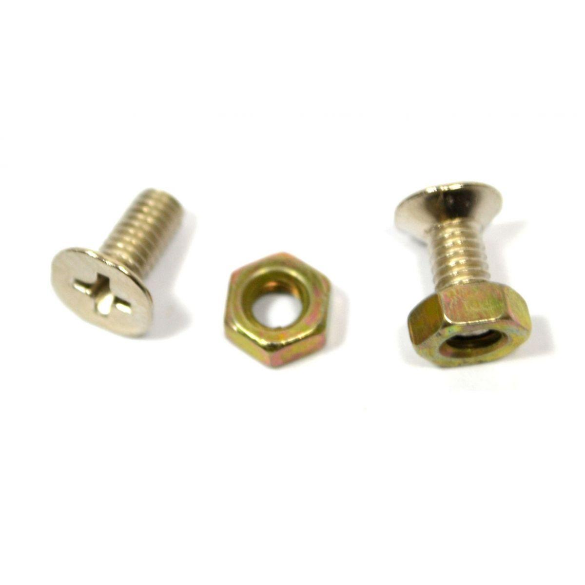 Parafuso cromado para nut (9mm x 4mm) - Kit c/ 2 peças  - Luthieria Brasil
