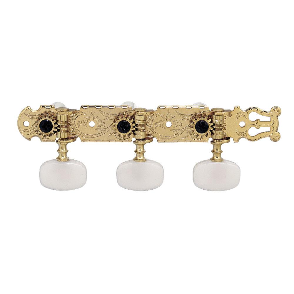 Tarraxa dourada pino fino com botão branco para violão de aço 6 cordas - Gotoh (35P-420S)  - Luthieria Brasil