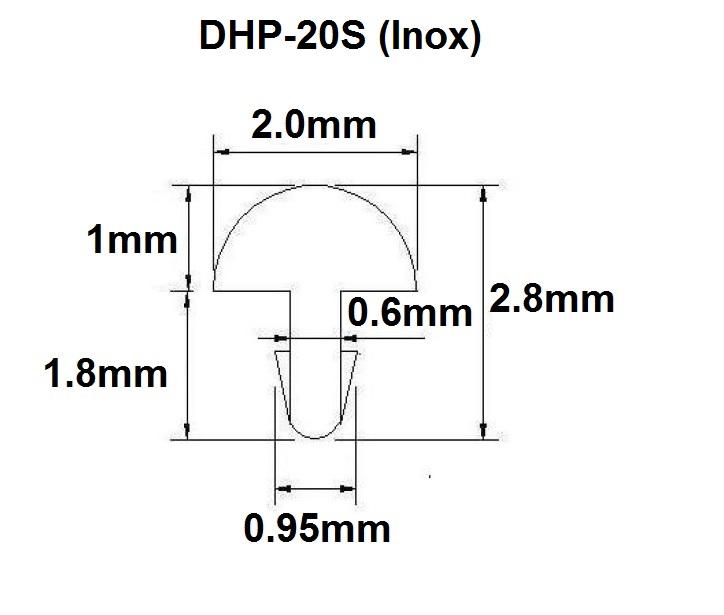 Traste Inox DHP-20S médio para cavaco/violão/guitarra - 1,0mm (altura) x 2,0mm (largura) x 1 metro (metro)  - Luthieria Brasil