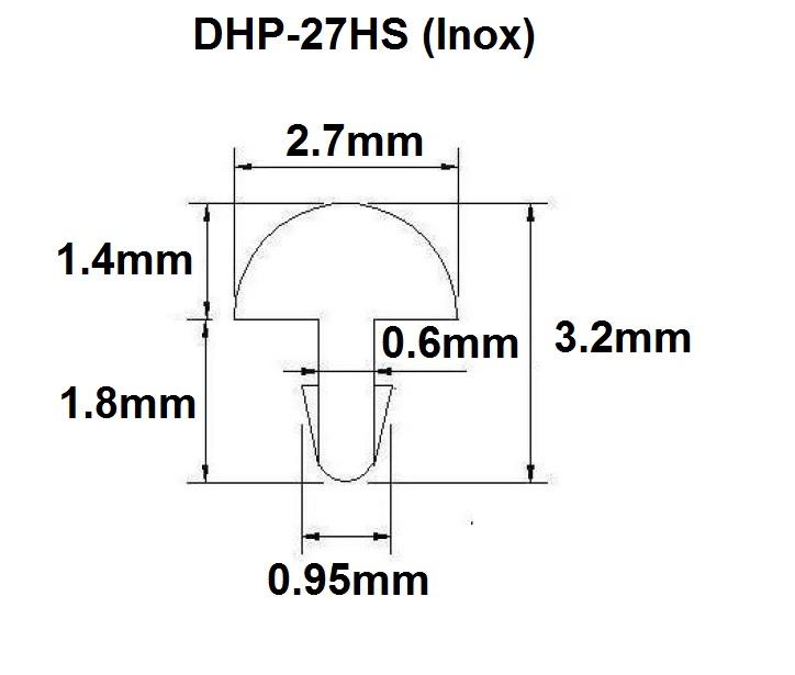 Traste Inox DHP-27HS jumbo para violão/guitarra/baixo - 1,4mm (altura) x 2,7mm (largura) x 1 metro (metro)  - Luthieria Brasil