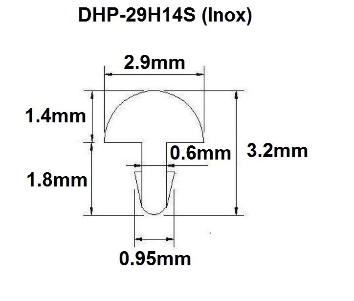 Traste Inox DHP-29H14S extra jumbo para violão/guitarra/baixo - 1,4mm (altura) x 2,9mm (largura) x 1 metro (metro)  - Luthieria Brasil