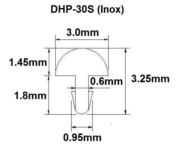 Traste Inox DHP-30S extra jumbo para guitarra/baixo - 1,45mm (altura) x 3,0mm (largura) x 1 metro (metro)  - Luthieria Brasil