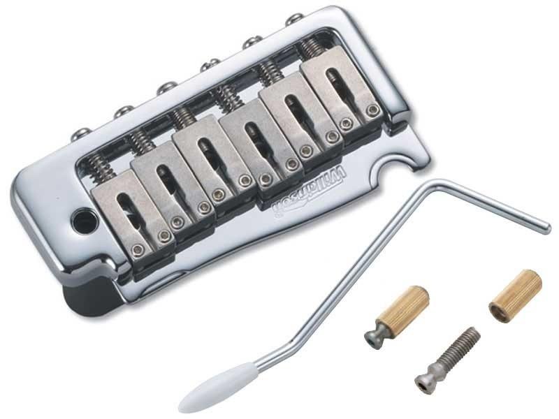 Ponte Cromada Tremolo 2 pivôs estilo Stratocaster para guitarra com carrinhos em aço inox (Bloco 41.2mm) - Wilkinson by Sung-il (WVP)  - Luthieria Brasil