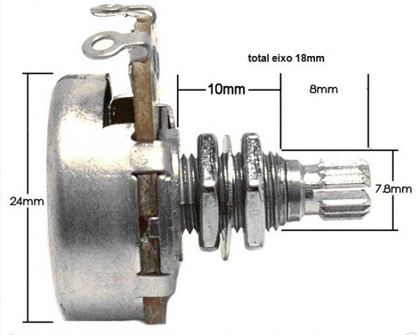 Potenciometro (eixo longo/base grande) para guitarra/baixo A250k  - Luthieria Brasil