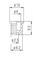 Buchas inferiores pretas para guitarra (padrão 2) - Kit com 6 peças  - Luthieria Brasil