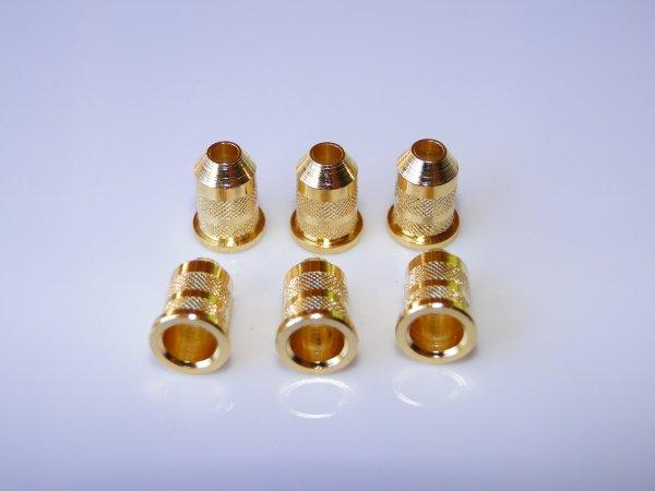 Buchas inferiores douradas para guitarra (padrão 1) - Kit com 6 peças  - Luthieria Brasil