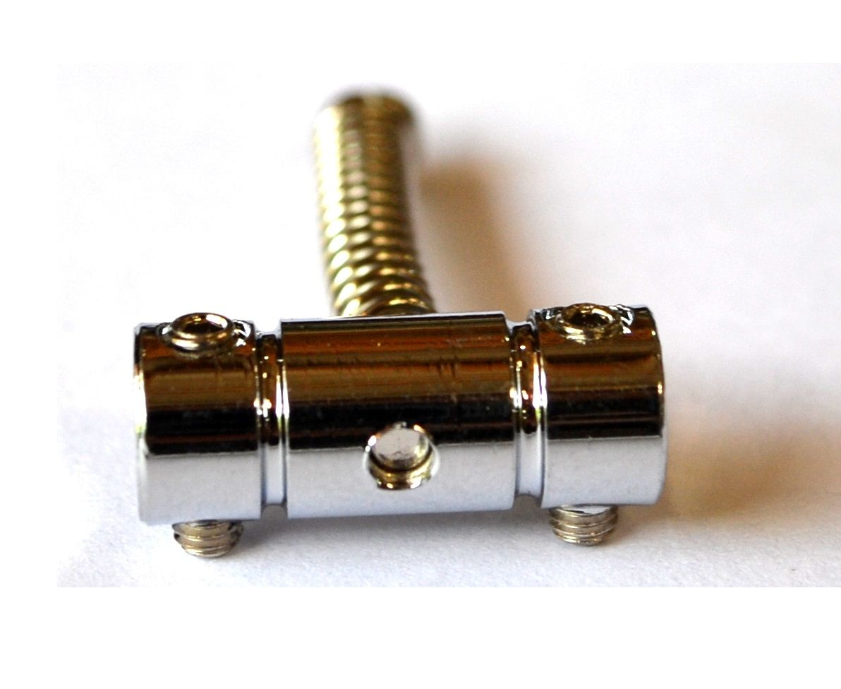 Carrinhos (saddles) cromados para guitarra - Espaçamento 10.8mm - Kit com 3 peças - Sung-il (PS208)  - Luthieria Brasil