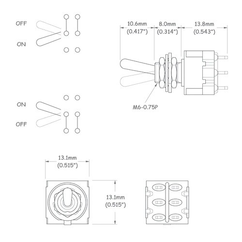 Chave mini controle DPDT para defasagem de captadores de guitarra - 6 polos e 2 vias - Níquel c/ Preto - Spirit (M205-BK)  - Luthieria Brasil