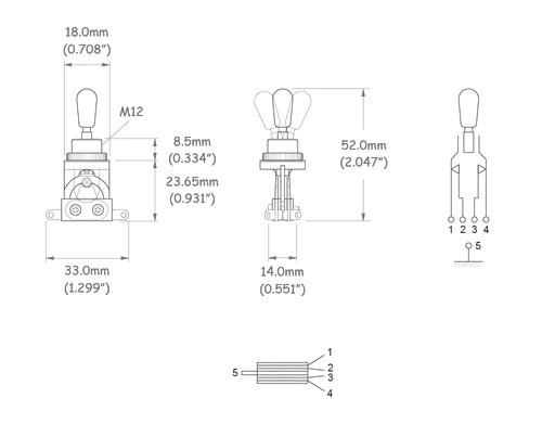 Chave seletora 3 posições Les Paul cromada com knob creme  - Luthieria Brasil