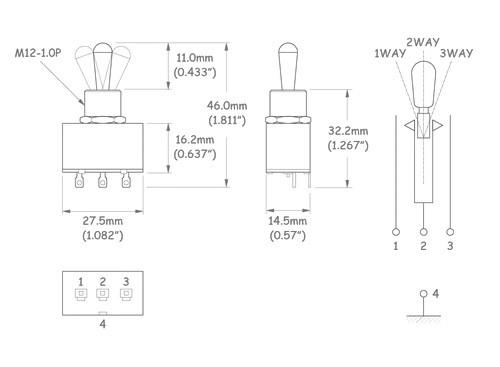 Chave seletora 3 posições Les Paul cromada com knob (de metal) cromado (modelo 2)  - Luthieria Brasil