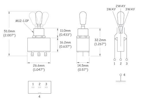 Chave seletora 3 posições Les Paul cromada com knob preto (modelo 2)  - Luthieria Brasil