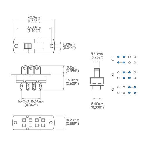 Chave seletora 3 posições tipo interruptor para Jaguar/Jazzmaster  - Luthieria Brasil