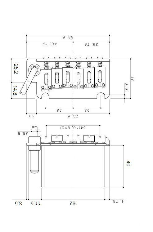 Ponte Cromada estilo Stratocaster para guitarra com carrinhos de aço inox (Bloco 40mm) - Sung-il (BS184)  - Luthieria Brasil