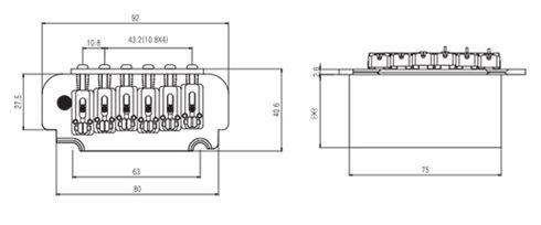 Ponte Cromada Tremolo 2 pivôs para Guitarra (Bloco 36mm) - Sung-il (BS108)  - Luthieria Brasil
