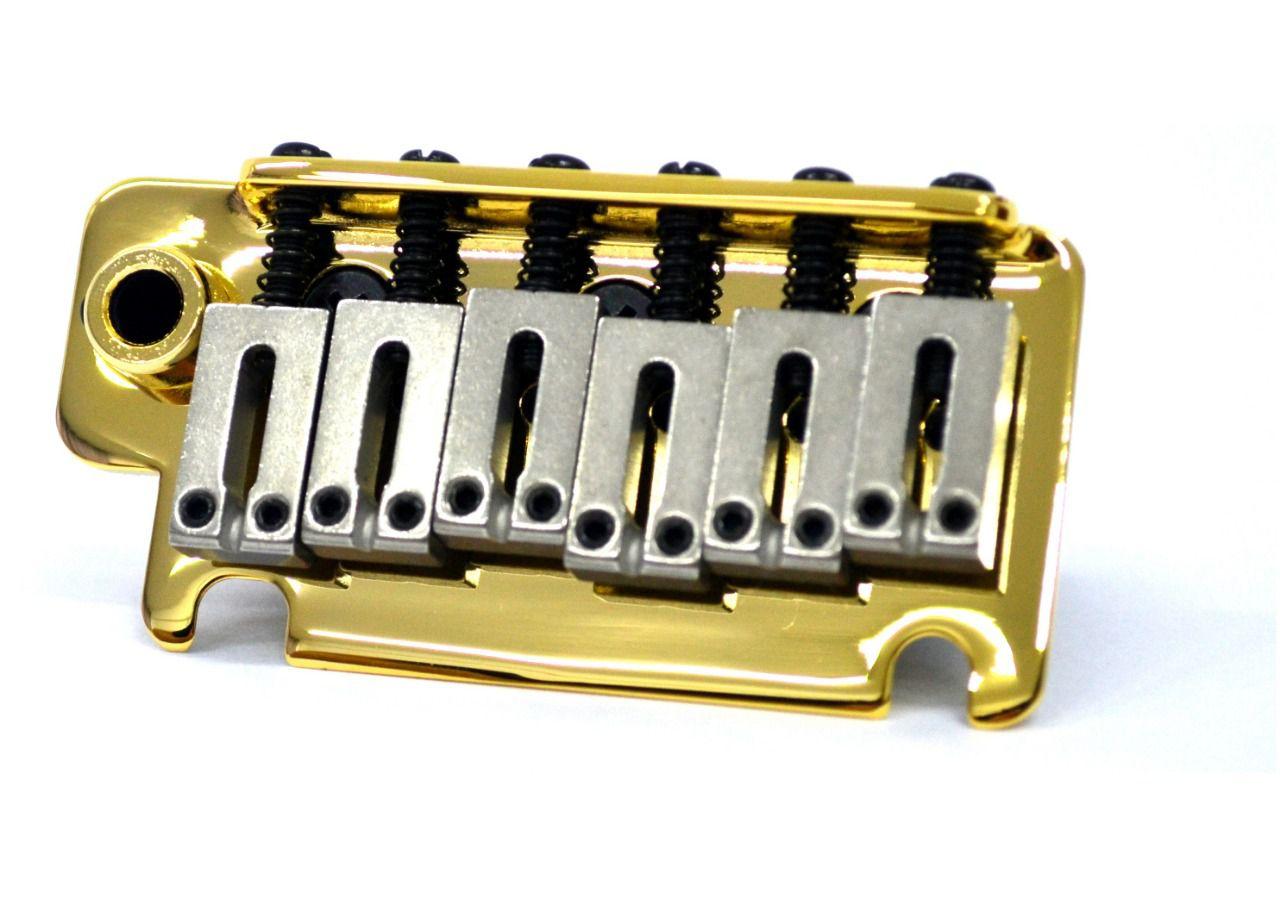 Ponte Dourada estilo Stratocaster para guitarra com carrinhos de aço inox (Bloco 40mm) - Sung-il (BS184)  - Luthieria Brasil