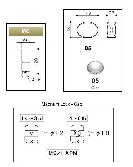 """Tarraxa Dourada Blindada """"3+3"""" botão oval c/ trava para guitarra - jogo 6 pçs - Gotoh (SG381-05-3X3-MG-GD)  - Luthieria Brasil"""