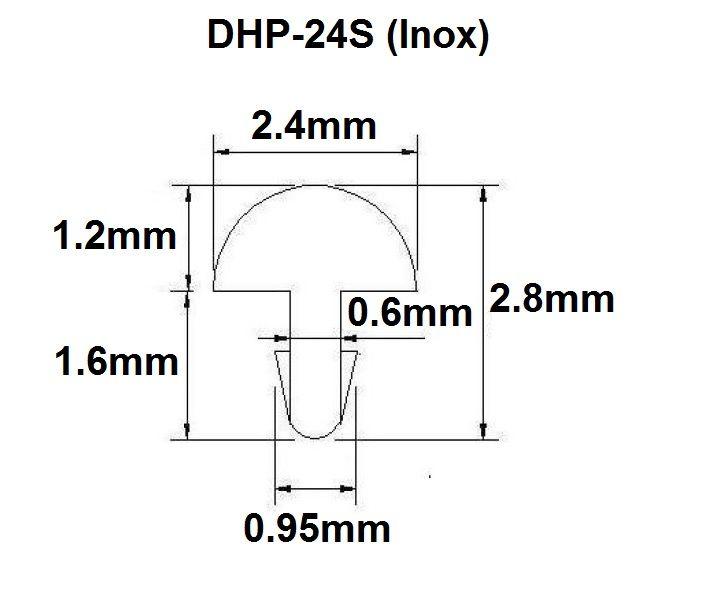 Traste Inox DHP-24S médio/jumbo para violão/guitarra/baixo - 1,2mm (altura) x 2,4mm (largura) - Rolo com 3 metros  - Luthieria Brasil