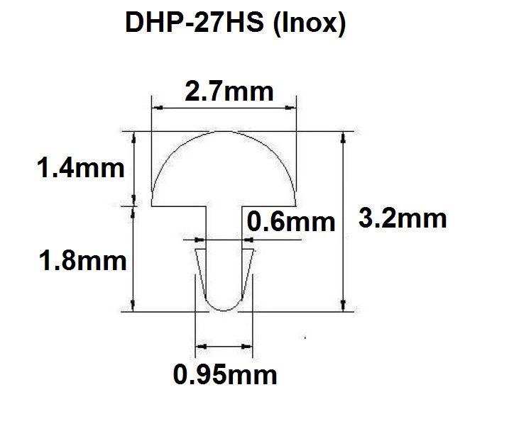 Traste Inox DHP-27HS jumbo para violão/guitarra/baixo - 1,4mm (altura) x 2,7mm (largura) - Rolo com 5 metros  - Luthieria Brasil