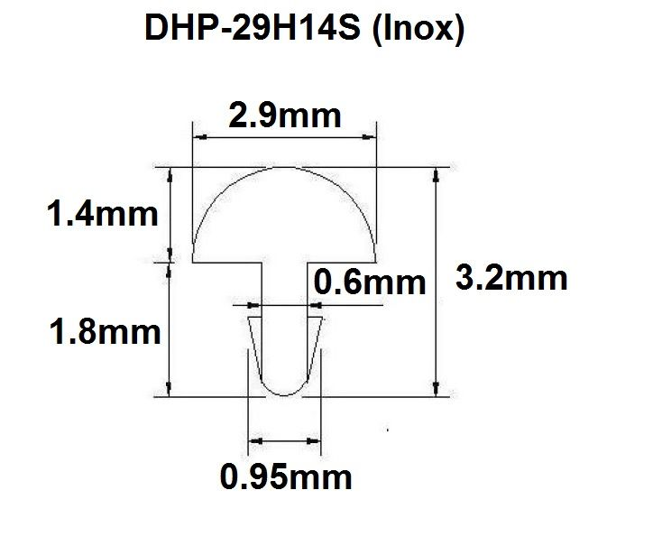 Traste Inox DHP-29H14S extra jumbo para violão/guitarra/baixo - 1,4mm (altura) x 2,9mm (largura) - Rolo com 3 metros  - Luthieria Brasil