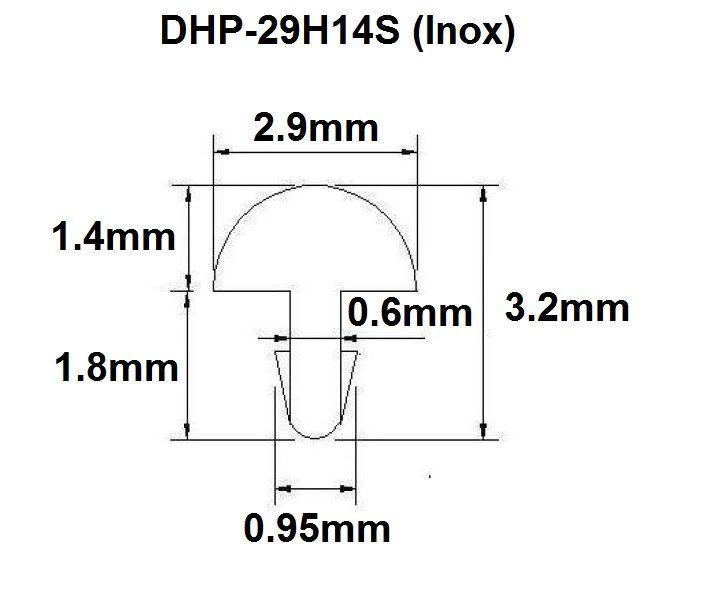 Traste Inox DHP-29H14S extra jumbo para violão/guitarra/baixo - 1,4mm (altura) x 2,9mm (largura) - Rolo com 5 metros  - Luthieria Brasil