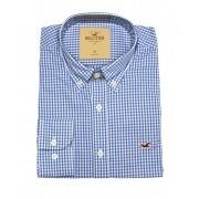 Camisa Social Hollister Xadrez Azul