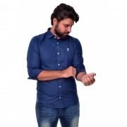 Camisa Social Marinho Poa B/Br
