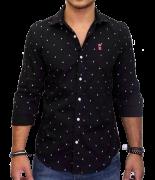 Camisa Social SK Preta Mini Print Ancoras