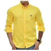 Camisa Social RL Amarela Logo Marinho - Custom Fit