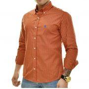 Camisa Social RL Xadrez logo Azul - Custom Fit