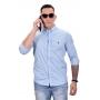 Camisa Social RL Azul Claro Listras P. Marinho  - Custom Fit