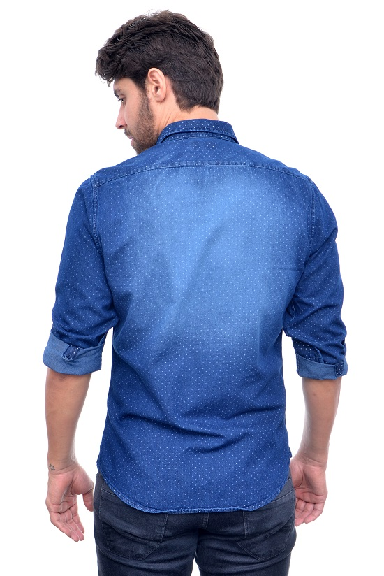 Camisa  Jeans Azul Poa RV  - Ca Brasileira