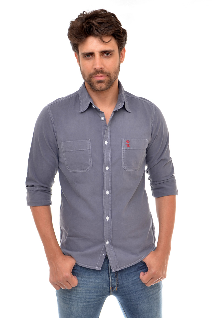 Camisa Jeans Cinza Bolso R SK