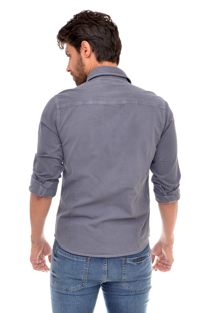 Camisa Jeans Cinza Bolso R SK   - Ca Brasileira