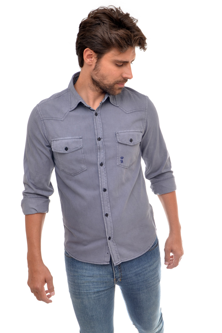 Camisa Jeans SK Cinza Bolsos  - Ca Brasileira