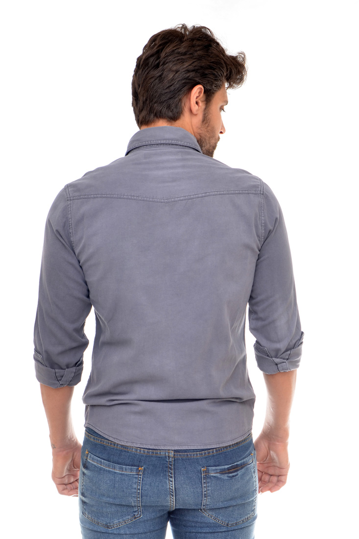 Camisa Jeans Cinza R   - Ca Brasileira