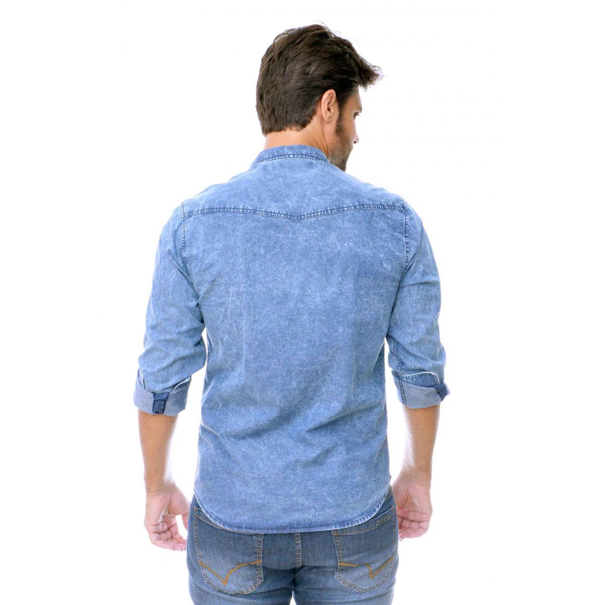 Camisa Jeans Marmorizada   - Ca Brasileira