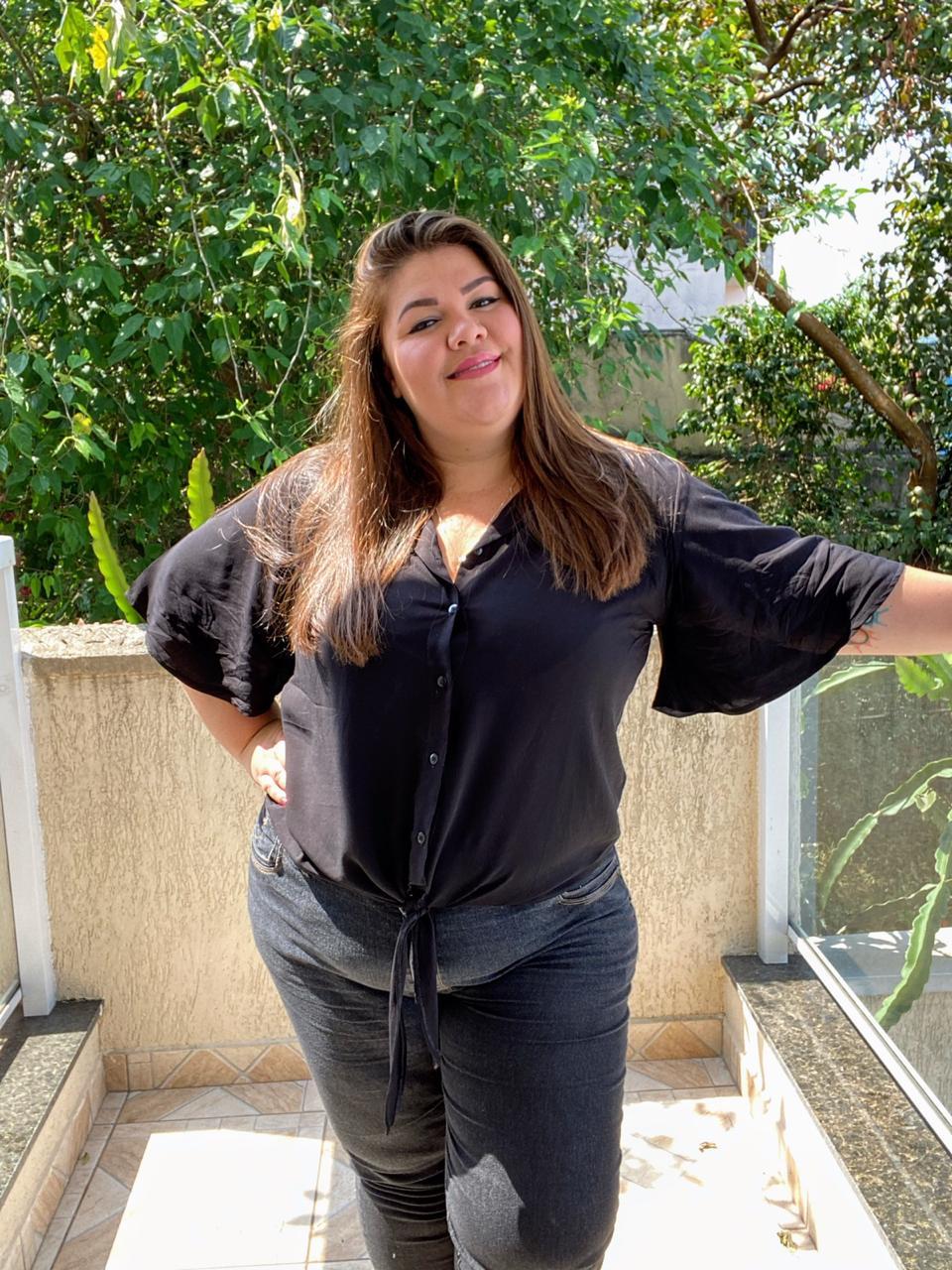 Camisa Plus Size Preta  - Ca Brasileira