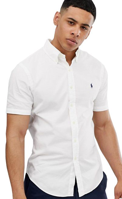 Camisa RL Manga Curta Branca Logo Marinho
