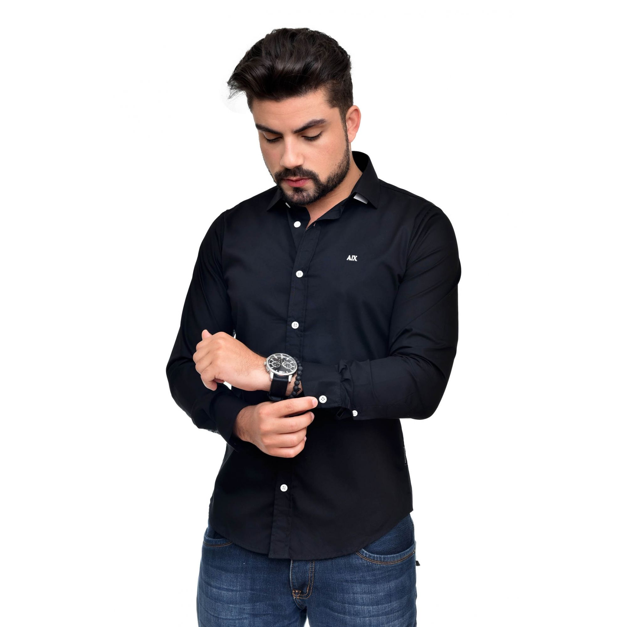Camisa Social Armani Exchange Preta  - Ca Brasileira