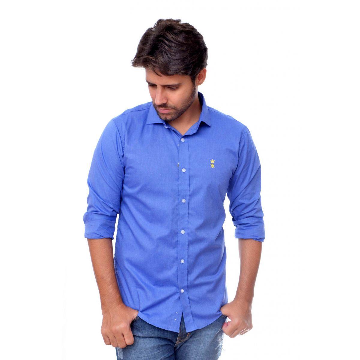 Camisa Social Azul Sergio K