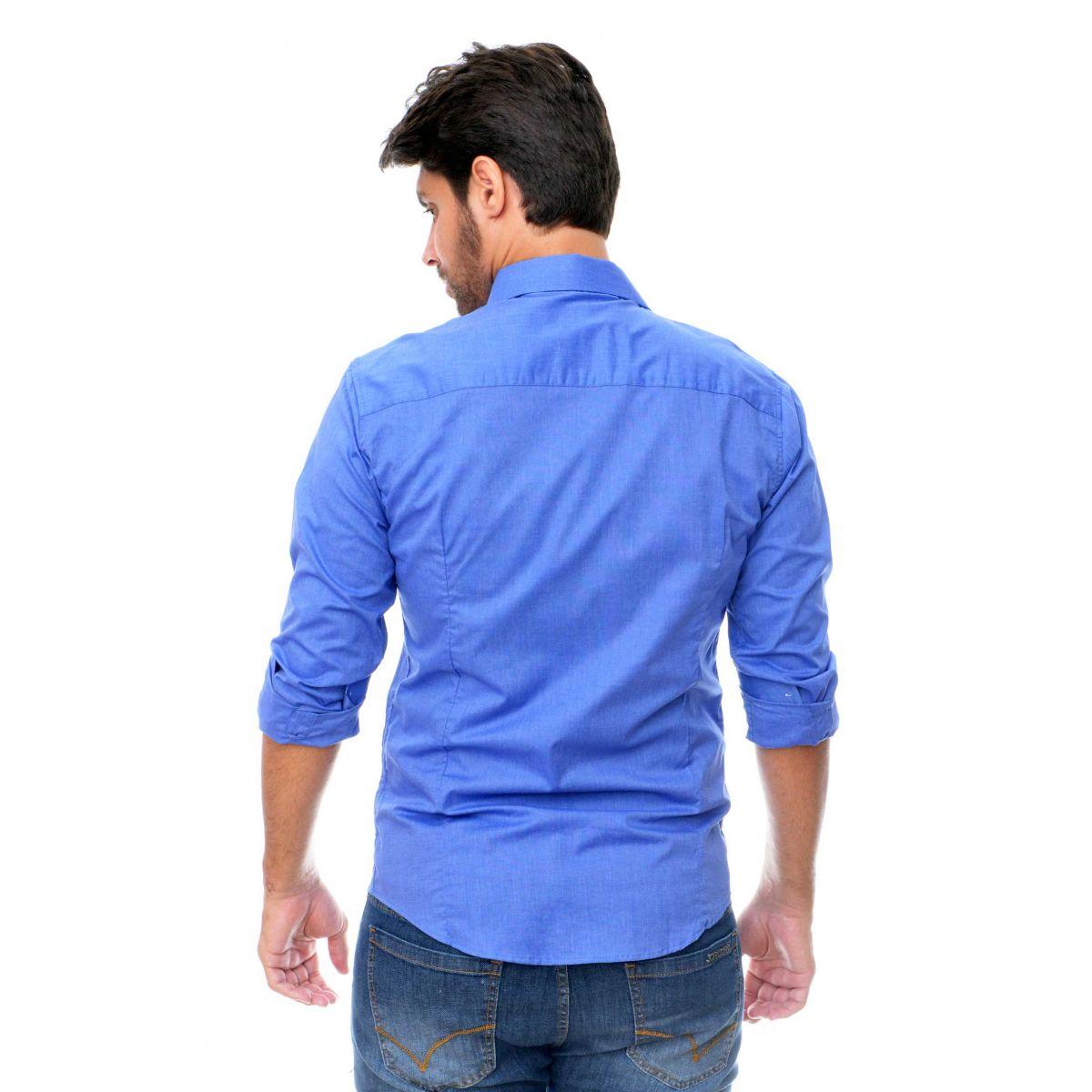 Camisa Social SK Azul   - Ca Brasileira