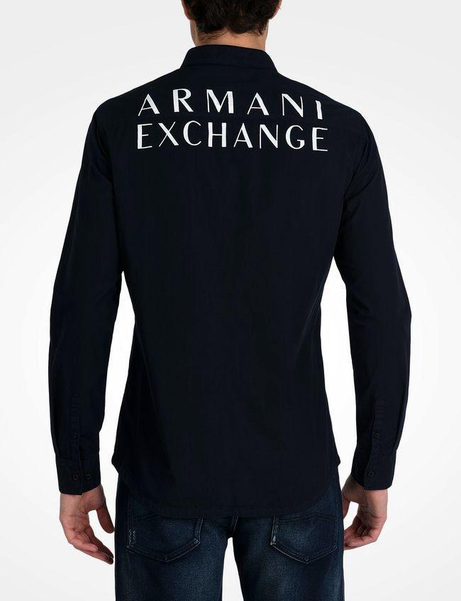 Camisa Social Estamp. Armani Exchange Preta