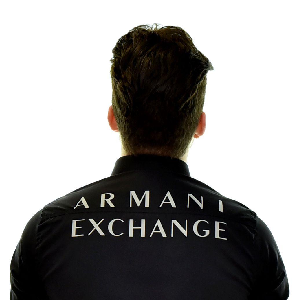 Camisa Social Print Armani Exchange Preta