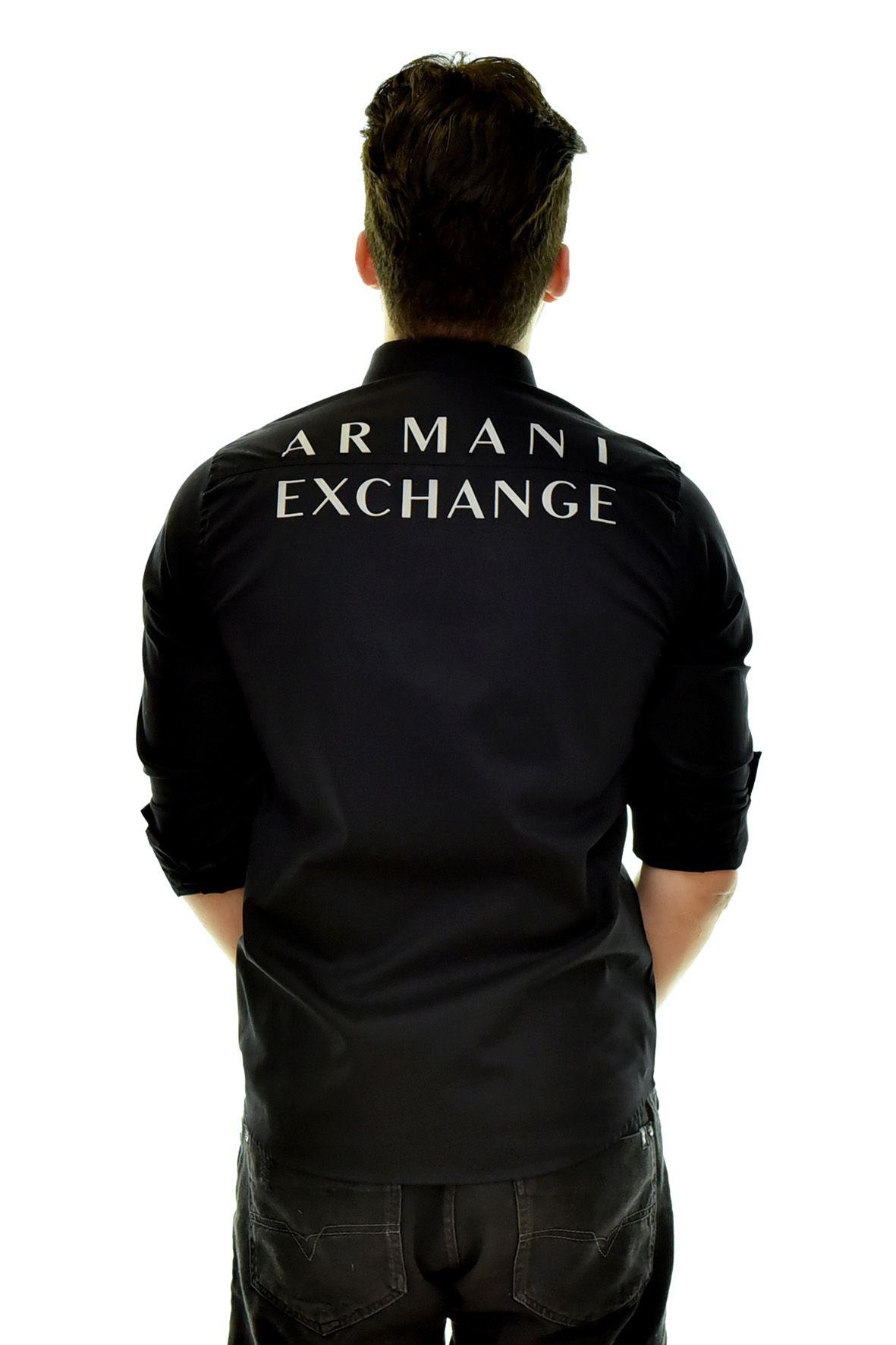 Camisa Social Print Armani Exchange Preta   - Ca Brasileira