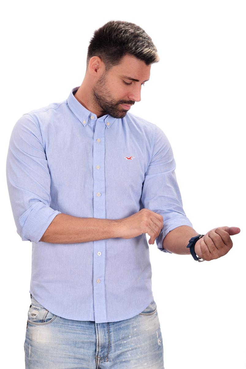 Camisa Social Hollister Azul Claro  - Ca Brasileira